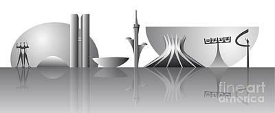 Tourist Attraction Digital Art - Brasilia City Skyline by Michal Boubin