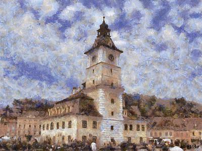 Romania Painting - Brasov City Hall by Jeff Kolker