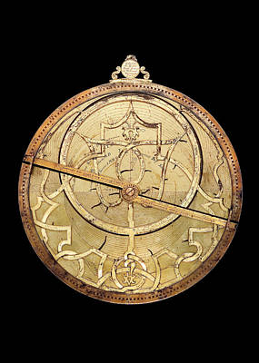 Brass Astrolabe  Print by Museum Of The History Of Science/oxford University Images
