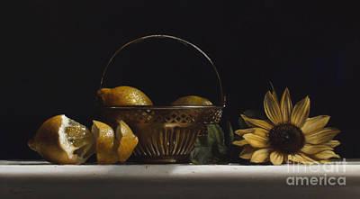 Lemon Painting - Brass Basket No.2 by Larry Preston