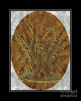 Brass Etching Digital Art - Brass Etching - Oval - Lily Of The Valley by Barbara Griffin