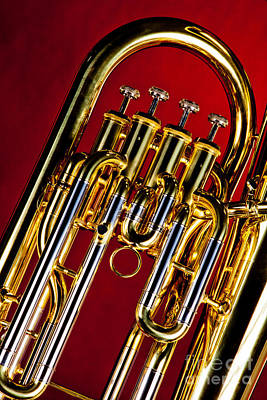 Bass Photograph - Brass Music Instrument Tuba Valves In Color 3277.02 by M K  Miller
