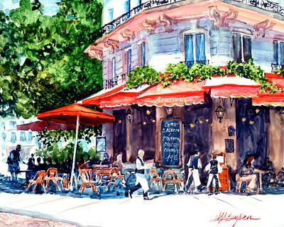 Watercolor On Aquabord Painting - Brasserie Isle St. Louis by Maryann Boysen