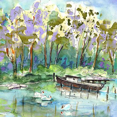 Swan Drawing - Bray Sur Seine 01 by Miki De Goodaboom