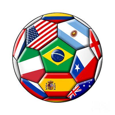 Kicking Digital Art - Brazil 2014 - Soccer With Various Flags by Michal Boubin