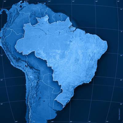 Brazil Topographic Map Print by Frank Ramspott