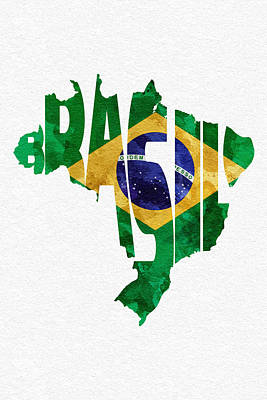Rust Art Mixed Media - Brazil Typographic Map Flag by Ayse Deniz