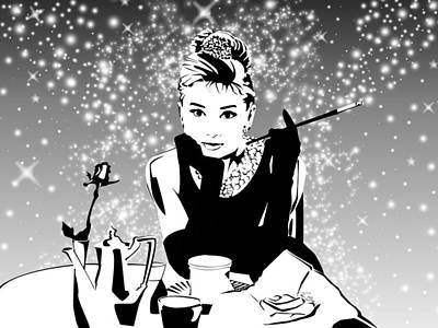 Audrey Hepburn Digital Art - Breakfast At Tiffany's Bw by Ryan Burton
