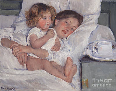 Table Painting - Breakfast In Bed by Mary Cassatt