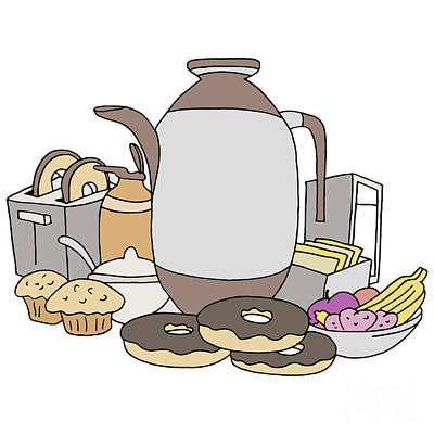 Toaster Digital Art - Breakfast Item Set by John Takai