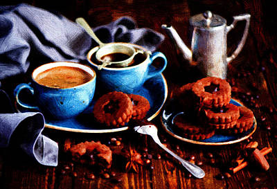 Coffee Painting - Breakfast On The Farm by VRL Art