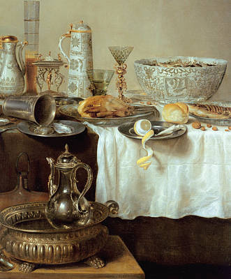 Tankard Painting - Breakfast Still Life by Willem Claesz Heda