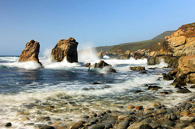 Of Big Sur Beach Photograph - Breaking Waves Garrapata State Park by Tom Norring