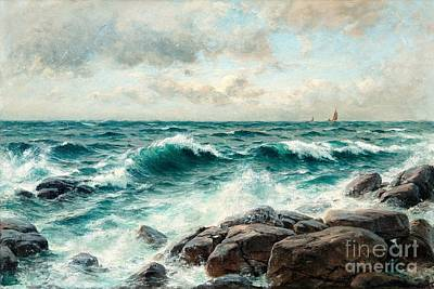 Oceanscape Painting - Breaking Waves On The Beach by Celestial Images