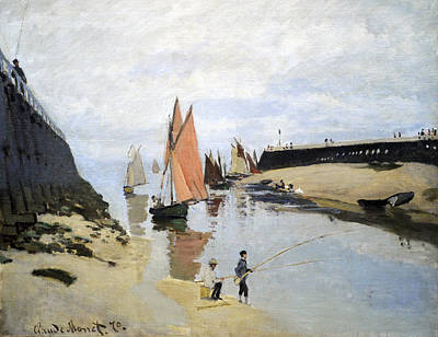 Breakwater At Trouville Print by Claude Monet