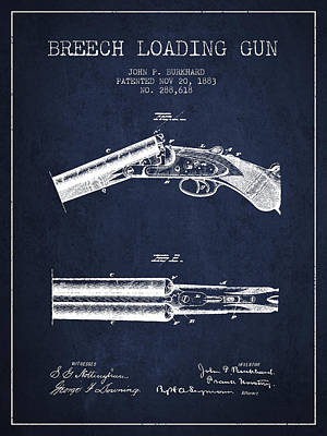 Breech Loading Gun Patent Drawing From 1883 - Navy Blue Print by Aged Pixel