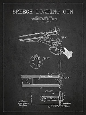 Smallmouth Bass Digital Art - Breech Loading Shotgun Patent Drawing From 1879 - Dark by Aged Pixel