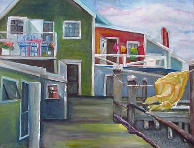 Laundry Painting - Breezes On The Wharf by Maria Milazzo