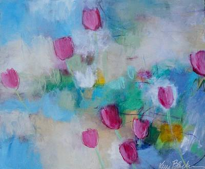 Abstract Painting - Breezy Tulips In The Garden by Kerri Blackman