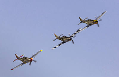 Planes Of Fame Photograph - Bremont P-51 Formation by John Daly