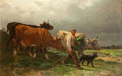 Cow Boy Painting - Breton Lad With Cattle by Julius Caesar Ibbetson