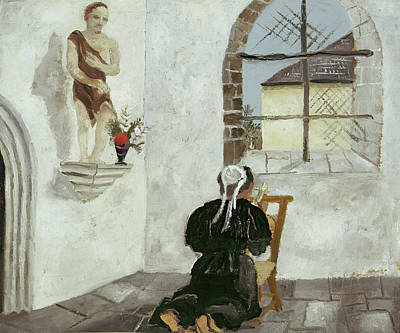 Breton Woman At Prayer Print by Christopher Wood