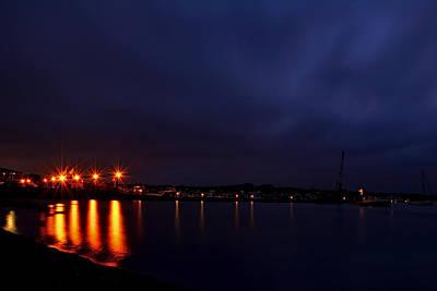 Brewer Yacht Yard At Cowesett Rhode Island Blue Hour Print by Lourry Legarde