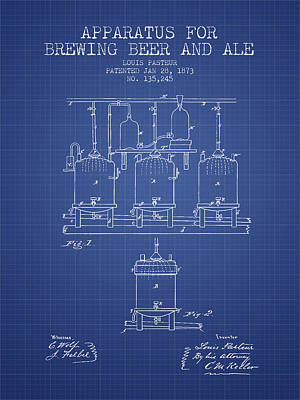 Brewing Beer And Ale Apparatus Patent From 1873 - Blueprint Print by Aged Pixel