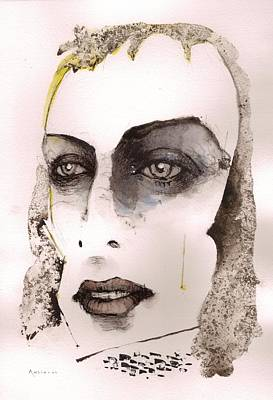 Ink On Paper Painting - Brian Eno by Mark M  Mellon