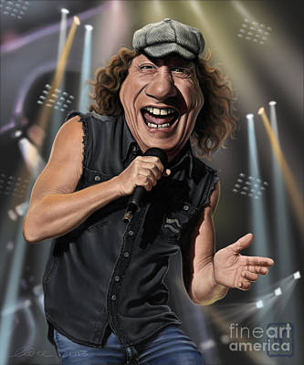 Lead Singer Drawing - Brian Johnson by Andre Koekemoer