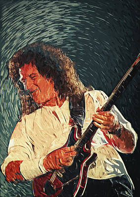 Brian May II Print by Taylan Soyturk