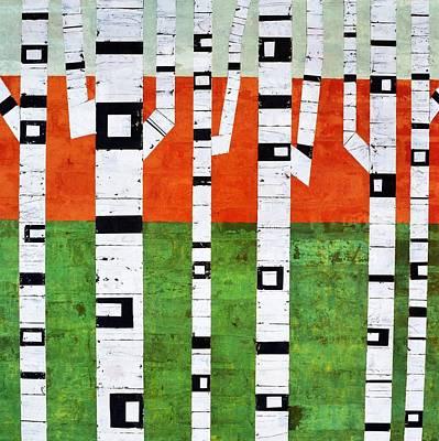 Brick Birches - Spring Print by Michelle Calkins