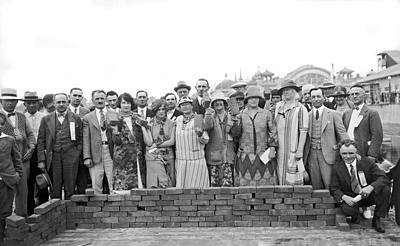 Brick Buildings Photograph - Brick Ceremony At Ppie by Underwood Archives