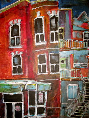 Outremont Painting - Brick Walkups by Michael Litvack