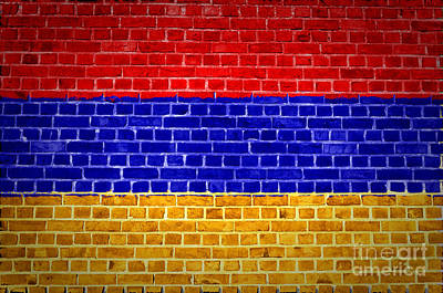 Backdrop Digital Art - Brick Wall Armenia by Antony McAulay