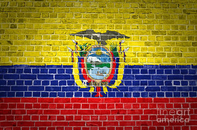 Backdrop Digital Art - Brick Wall Ecuador by Antony McAulay