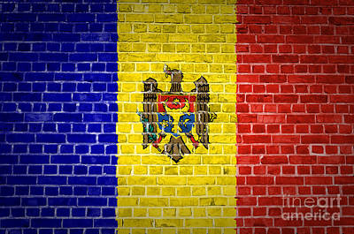 Backdrop Digital Art - Brick Wall Moldova by Antony McAulay