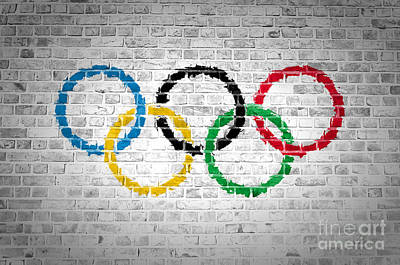 Backdrop Digital Art - Brick Wall Olympic Movement by Antony McAulay