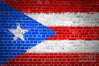 Backdrop Digital Art - Brick Wall Puerto Rico by Antony McAulay