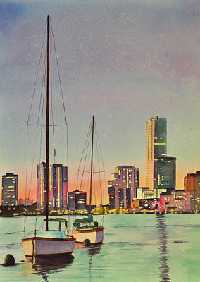 Miami Skyline Painting - Brickel At Sunset by Terry Arroyo Mulrooney