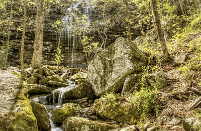 Waterfall Photograph - Bridal Veil Falls With Stream And Boulders - Heber Springs Arkansas by Jason Politte