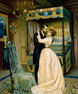 Embrace Painting - Bride And Bridegroom by French School