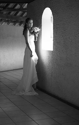 Bride At The Window I. Black And White Print by Jenny Rainbow