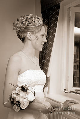 Contemplating Photograph - Bride Awaits Her Groom by Amanda And Christopher Elwell