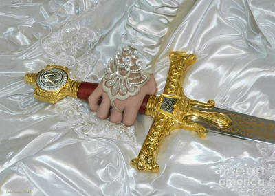 Bride Of Christ Sword Print by Constance Woods