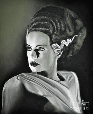 Frankenstein Drawing - Bride Of Frankenstein by Joe Dragt