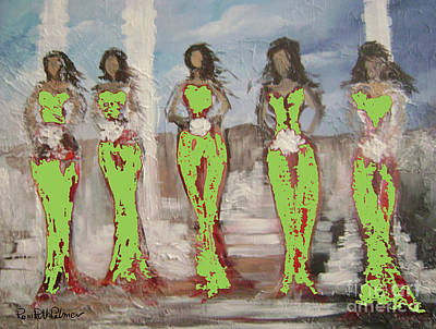 Figurative Painting - Bridesmaids In Green by Roni Ruth Palmer