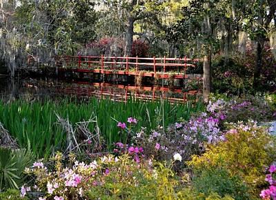 Bridge And Floral Print by Jeff  Bjune