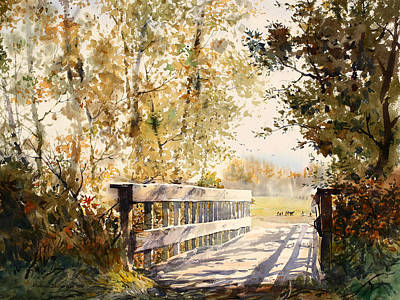 Aerial Perspective Painting - Bridge At Creamer's Field by Vladimir Zhikhartsev
