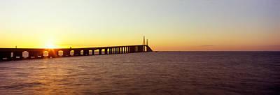 Sunshine Skyway Bridge Photograph - Bridge At Sunrise, Sunshine Skyway by Panoramic Images